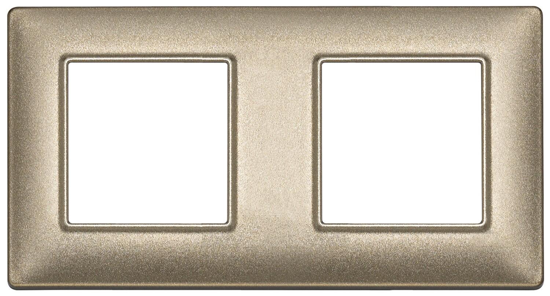 Накладка для 4 модулей (2+2) расстояние между центрами 71мм бронза металлизированная