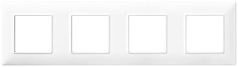 Накладка для 8 модулей (2+2+2+2) расстояние между центрами 71мм белая