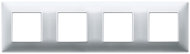 Накладка для 8 модулей (2+2+2+2) расстояние между центрами 71мм серебро матовое