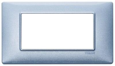 Накладка для 4 модулей синяя металлизированная