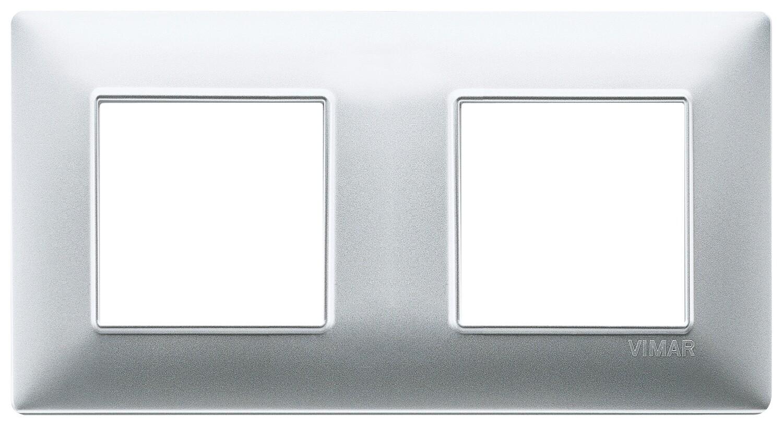 Накладка для 4 модулей (2+2) расстояние между центрами 71мм серебро матовое