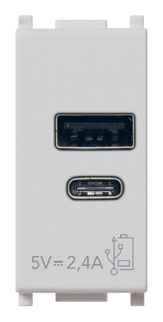ЗарядноеустройствосразъемомUSBA+C5V2,4A,1модуль,серебристое