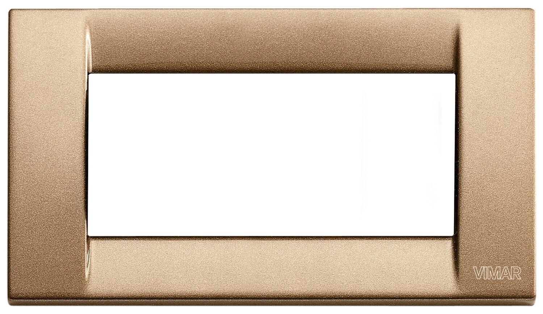 Накладка для 4 модулей металл металлик бронзовый