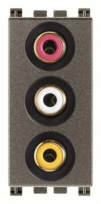 Розетка с тремя RCA коннекторами, Metal
