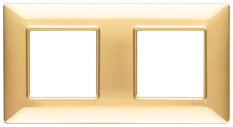 Накладка для 4 модулей (2+2) расстояние между центрами 71мм золото блестящее
