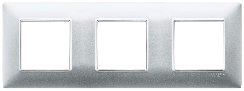 Накладка для 6 модулей (2+2+2) расстояние между центрами 71мм серебро матовое