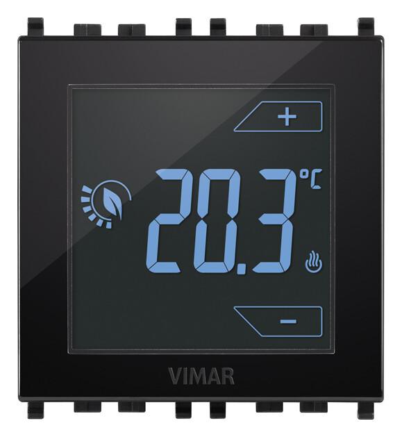 Термостат на 2 модуля 120-230V управление прикосновением, черный