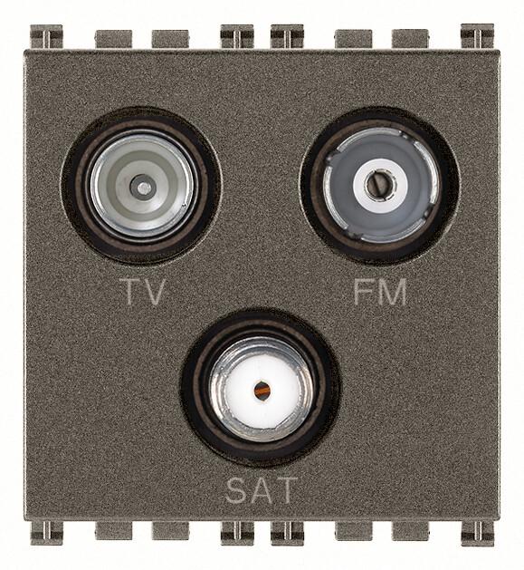 Розетка tv-fm-sat концевая с 3 выходами, metal