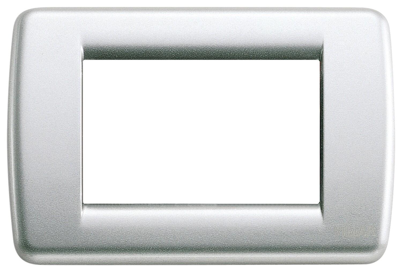 Накладка для 3 модулей RONDO металл металлик серебрянный