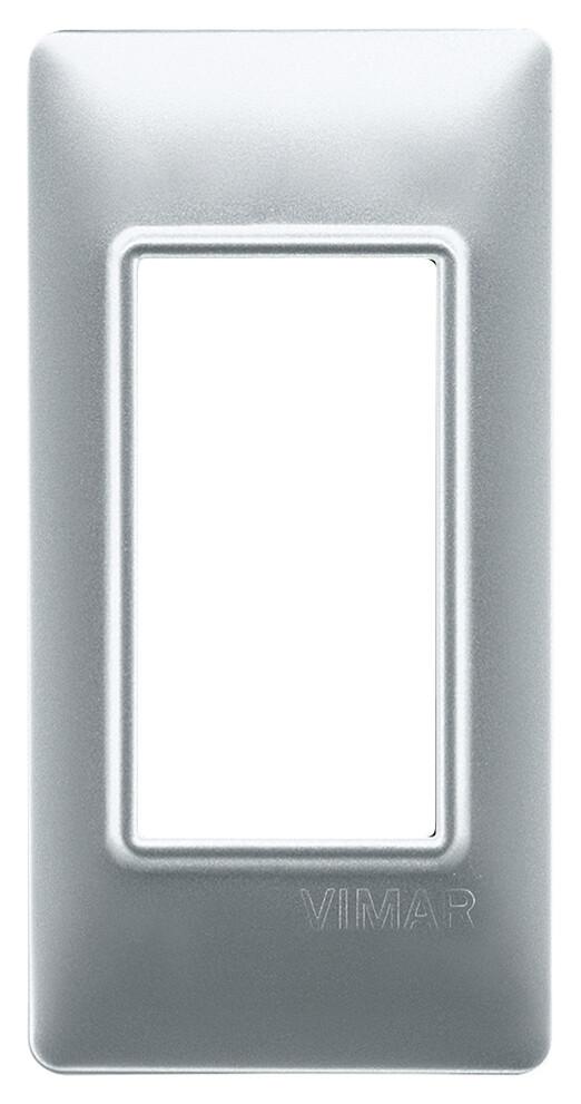 Накладка на 1 модуль для панелей, серебро матовое