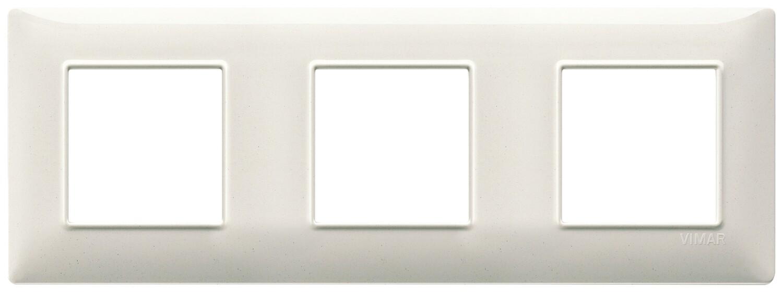 Накладка для 6 модулей (2+2+2) расстояние между центрами 71мм белый гранит