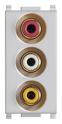 Розетка с тремя RCA коннекторами, серебро