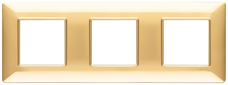 Накладка для 6 модулей (2+2+2) расстояние между центрами 71мм золото блестящее