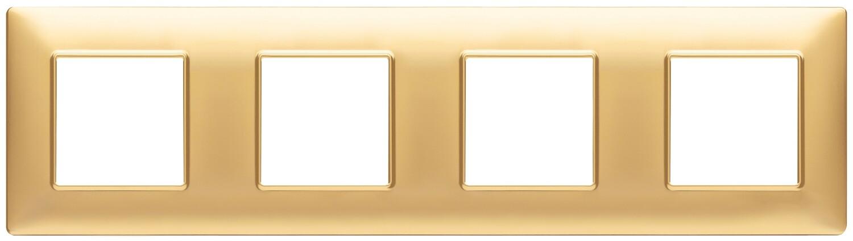 Накладка для 8 модулей (2+2+2+2) расстояние между центрами 71мм золото матовое