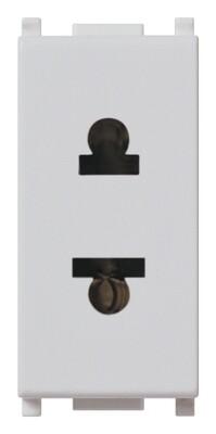 Розетка 2P 16A для вилок D.4,8 США/швейцарский стандарт, серебро