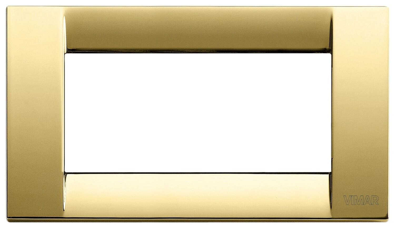 Накладка для 4 модулей металл блестящее золото