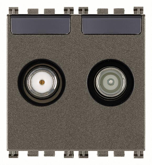 Розетка tv-rd-sat проходная с 2 выходами, metal