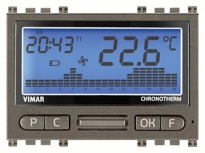 Хронотермостат с внешним термозондом,с питанием от батареи, серый