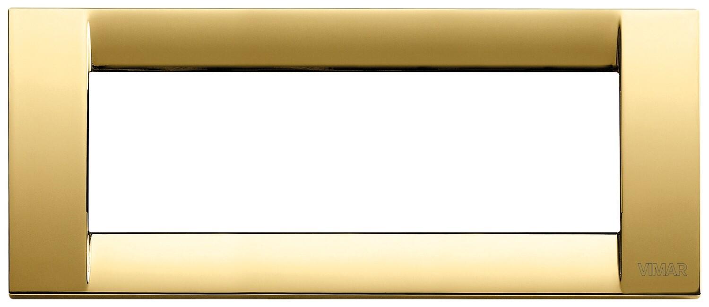 Накладка для 6 модулей металл блестящее золото