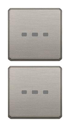Две плоские клавиши без символов, никель матовый