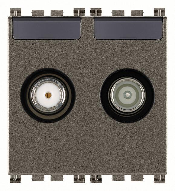 Розетка tv-rd-sat концевая с 2 выходами, metal