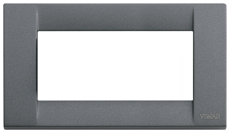 Накладка для 4 модулей металл серый шифер