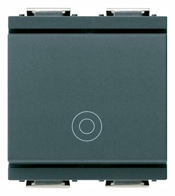 Кнопка 1P NO 10A на 2 модуля, серая