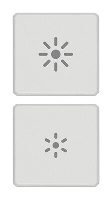 """Две плоские клавиши, символы """"регулирование"""", белые"""