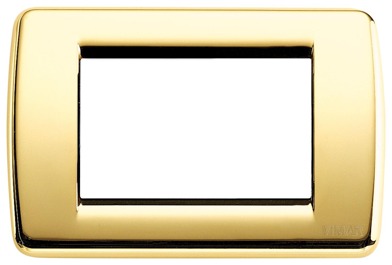 Накладка для 3 модулей RONDO металл блестящее золото