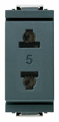 Розетка 2P 15A американский стандарт US + EU D4,8, серая