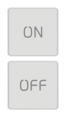 "Две плоские клавиши, символы ""ON/OFF"", белые"
