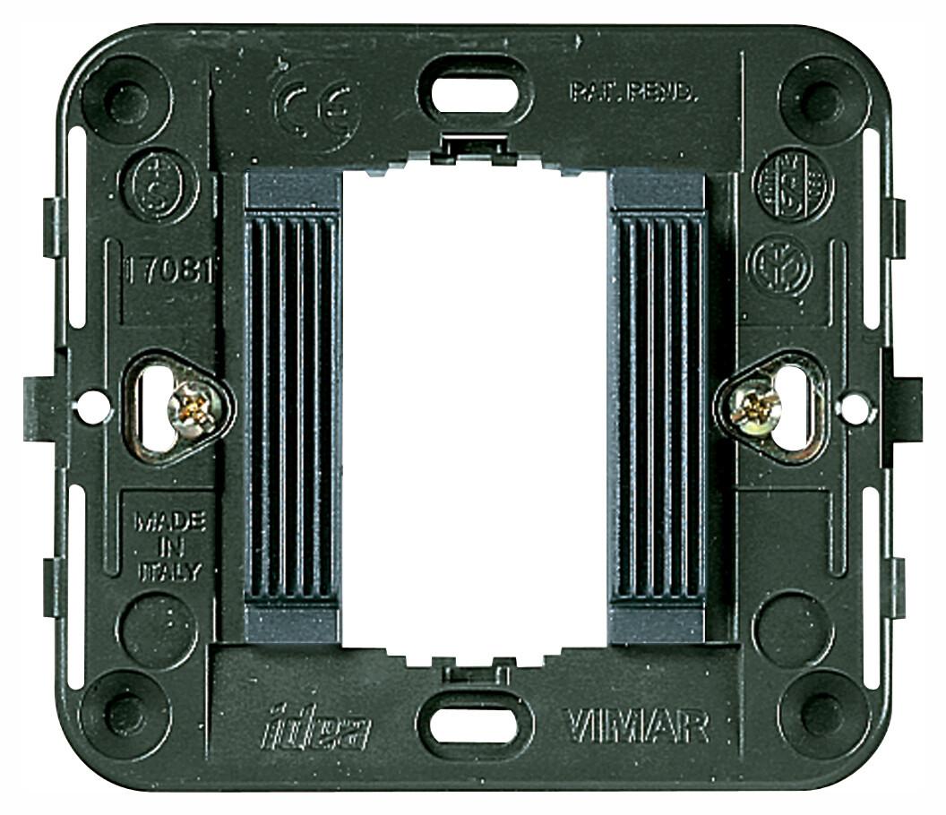 Суппорт для 1 модуля с рифлением, с защелками серый