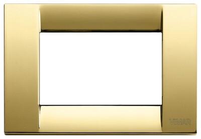 Накладка для 3 модулей металл блестящее золото