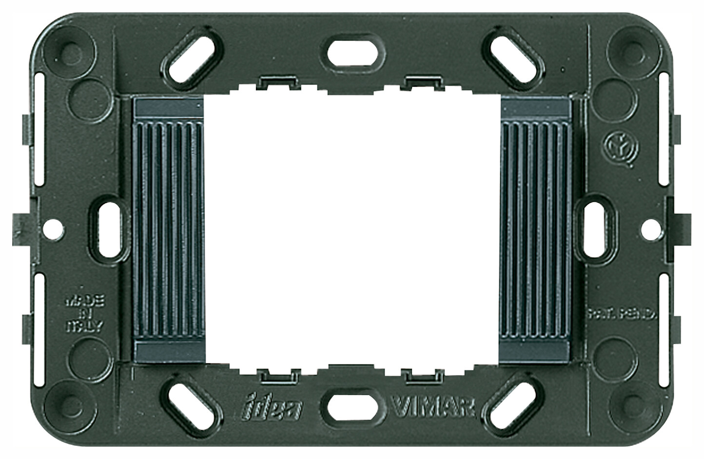 Суппорт для 2 модулей с рифлением, без винтов (Треб.07935-2шт), серый
