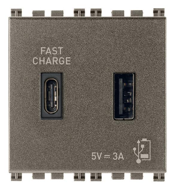 ЗарядноеустройствосразъемомUSBA+C5V3A,2модуля,Metal