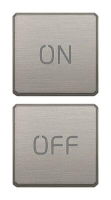 """Две плоские клавиши, символы """"ON/OFF"""", никель матовый"""