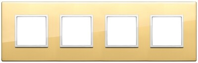 Накладка Evo на 8 модулей (2+2+2+2) расстояние между центрами 71мм, глянцевое золото