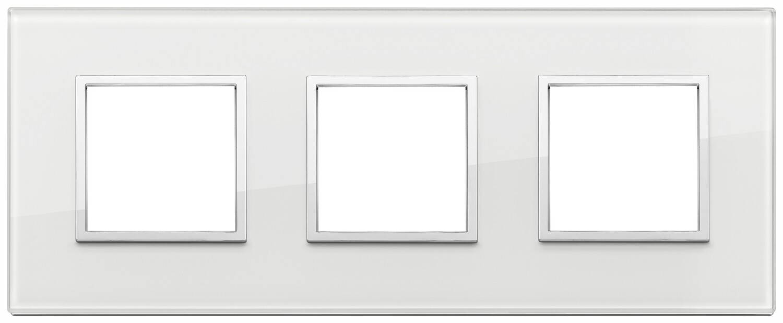 Накладка Evo на 6 модулей (2+2+2) расстояние между центрами 71мм, белый бриллиант
