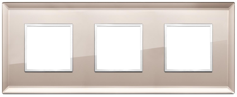 Накладка Evo на 6 модулей (2+2+2) расстояние между центрами 71мм, бронзовое зеркало