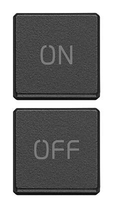 """Две плоские клавиши, символы """"ON/OFF"""", антрацит"""