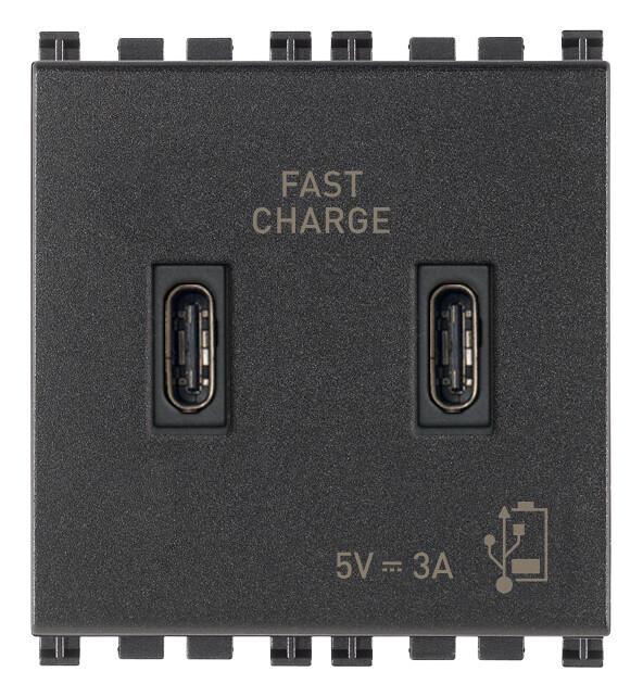ЗарядноеустройствосразъемомUSBC+C5V3A,2модуля,серое