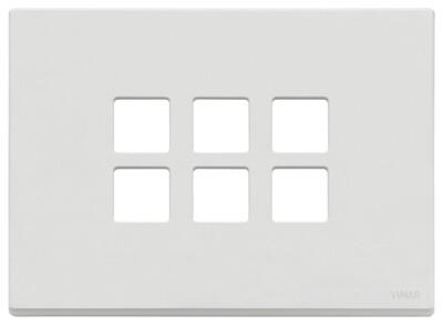 Накладка плоская, 3 мод на 6 кн., белая матовая