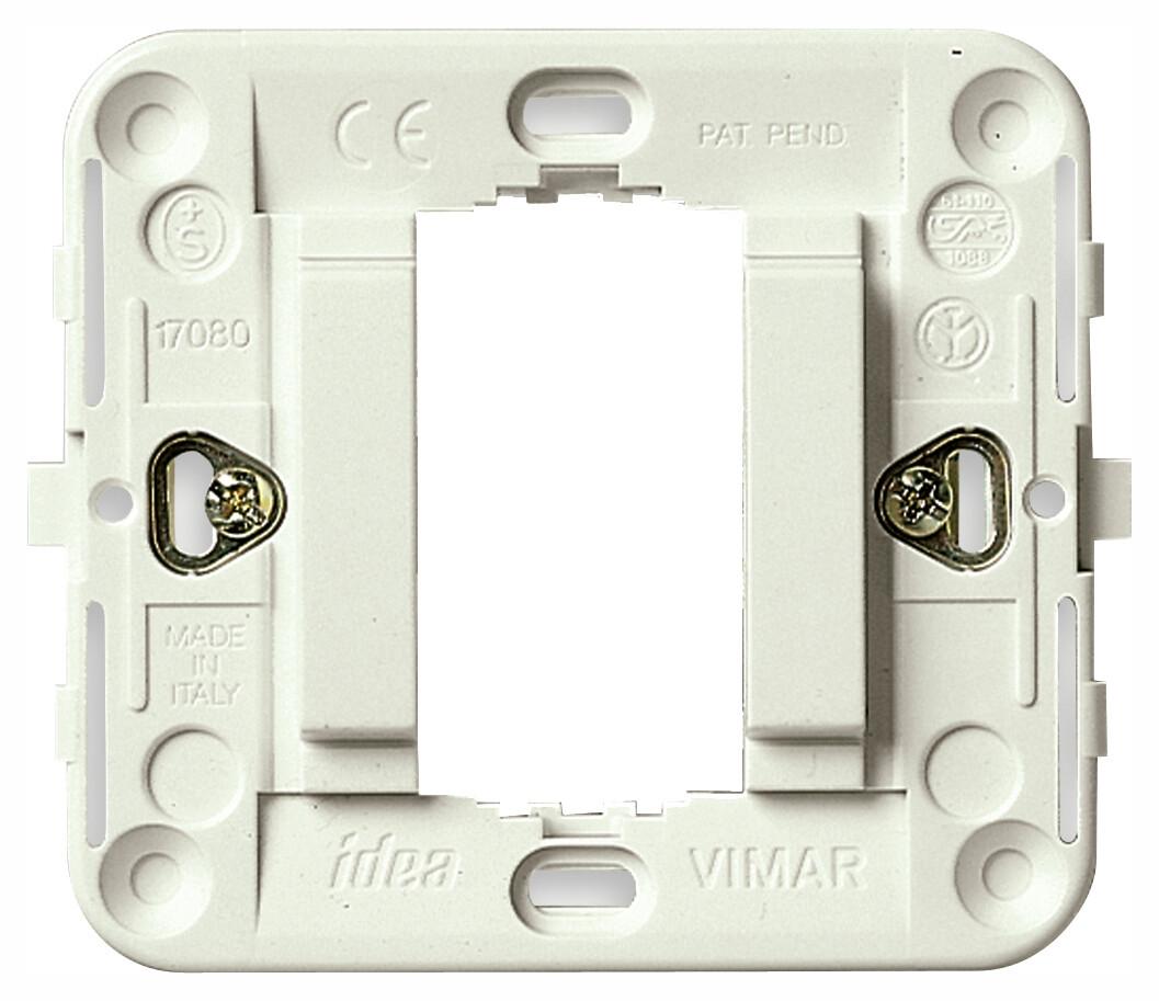Суппорт для 1 модуля гладкий с защелками белый