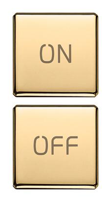 """Две плоские клавиши, символы """"ON/OFF"""", золото"""