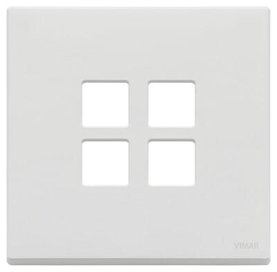 Накладка плоская, 2 мод на 4 кн., белая матовая