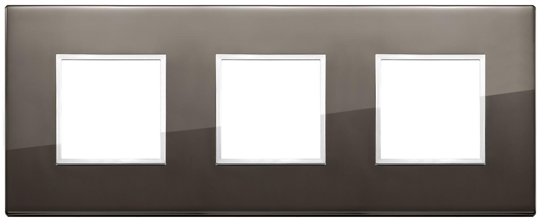 Накладка Evo на 6 модулей (2+2+2) расстояние между центрами 71мм, черный сапфир
