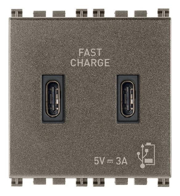 Зарядное устройство с разъемом USB C+C 5V 3A, 2 модуля, Metal