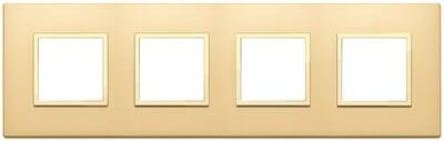 Накладка EVO для 8 модулей (2+2+2+2) расстояние между центрами 71мм, золото сатированное