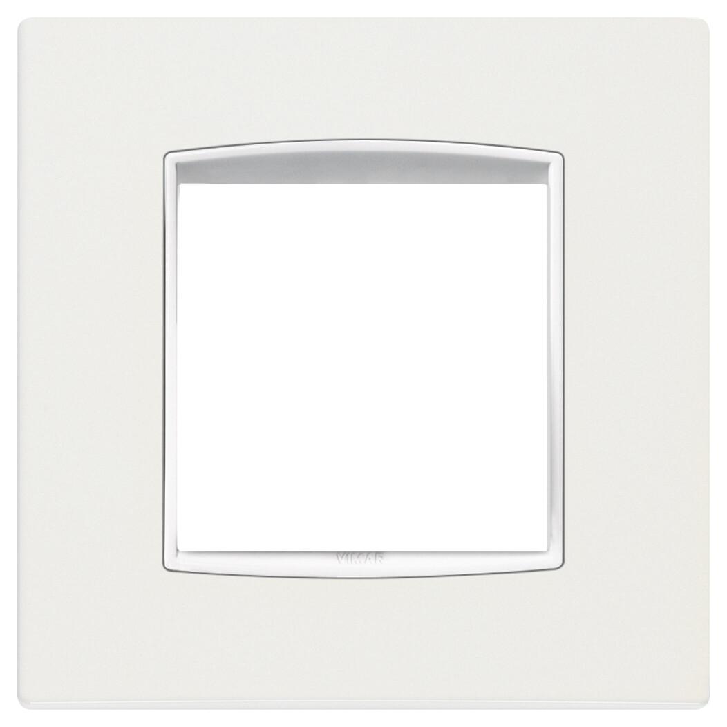Накладка классика на 2 модуля арктическая белая с белым обрамлением