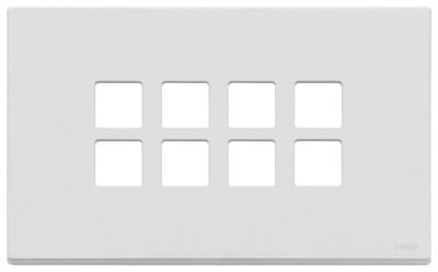 Накладка плоская, 4 мод на 8 кн., белая матовая